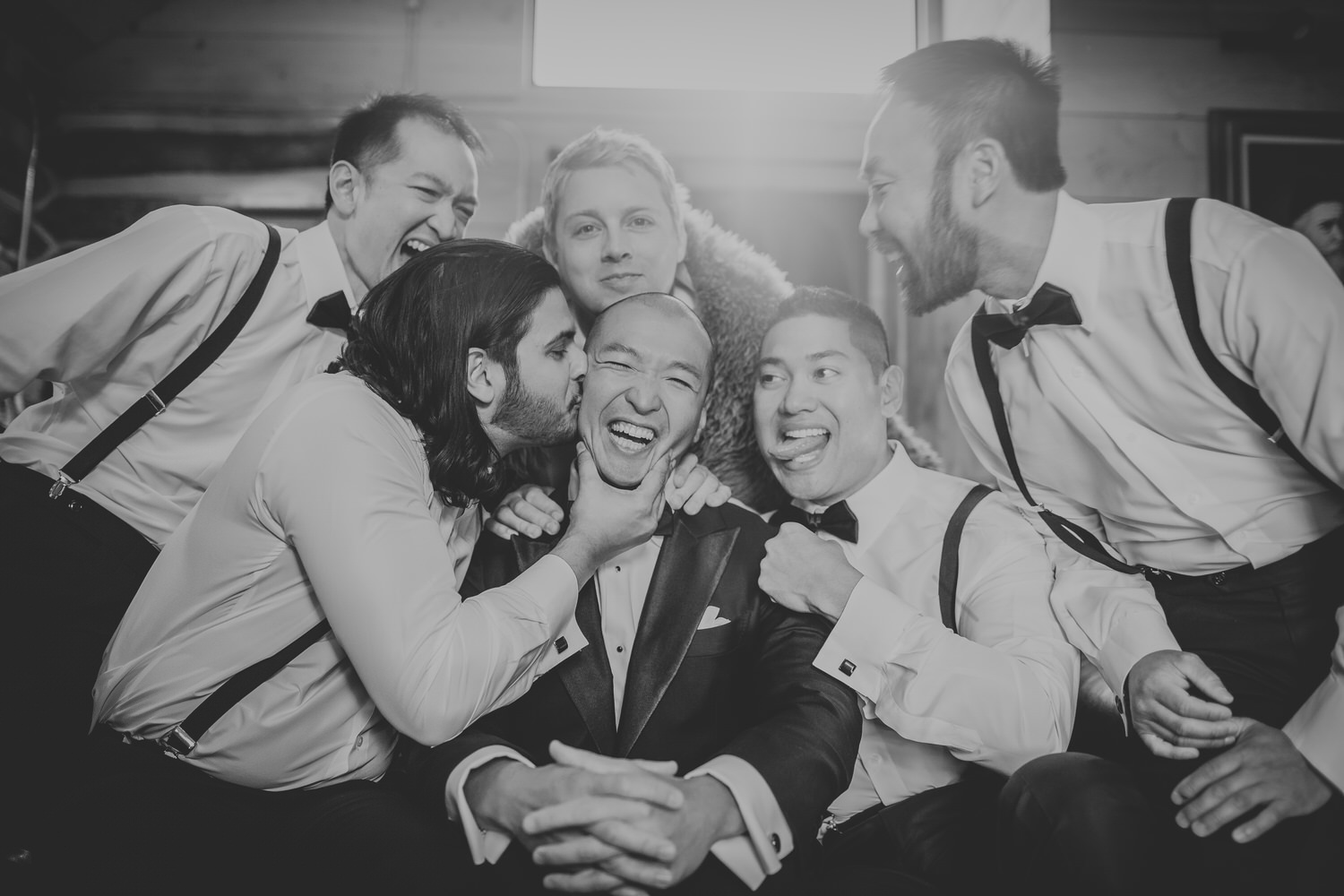 When the wedding takes place in Bozeman Montana some pictures become timeless. This one was best expressed in black and white.