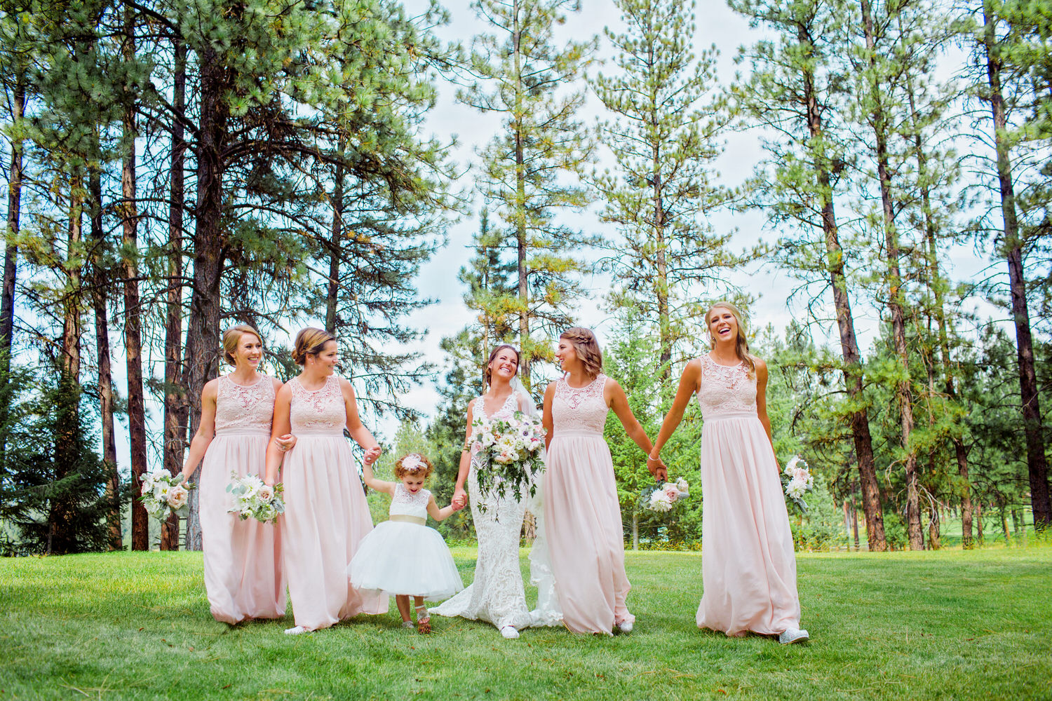 Keely and her bridesmaids at her wedding in Bozeman Montana. I was honored to be her photographer in such a classy wedding.