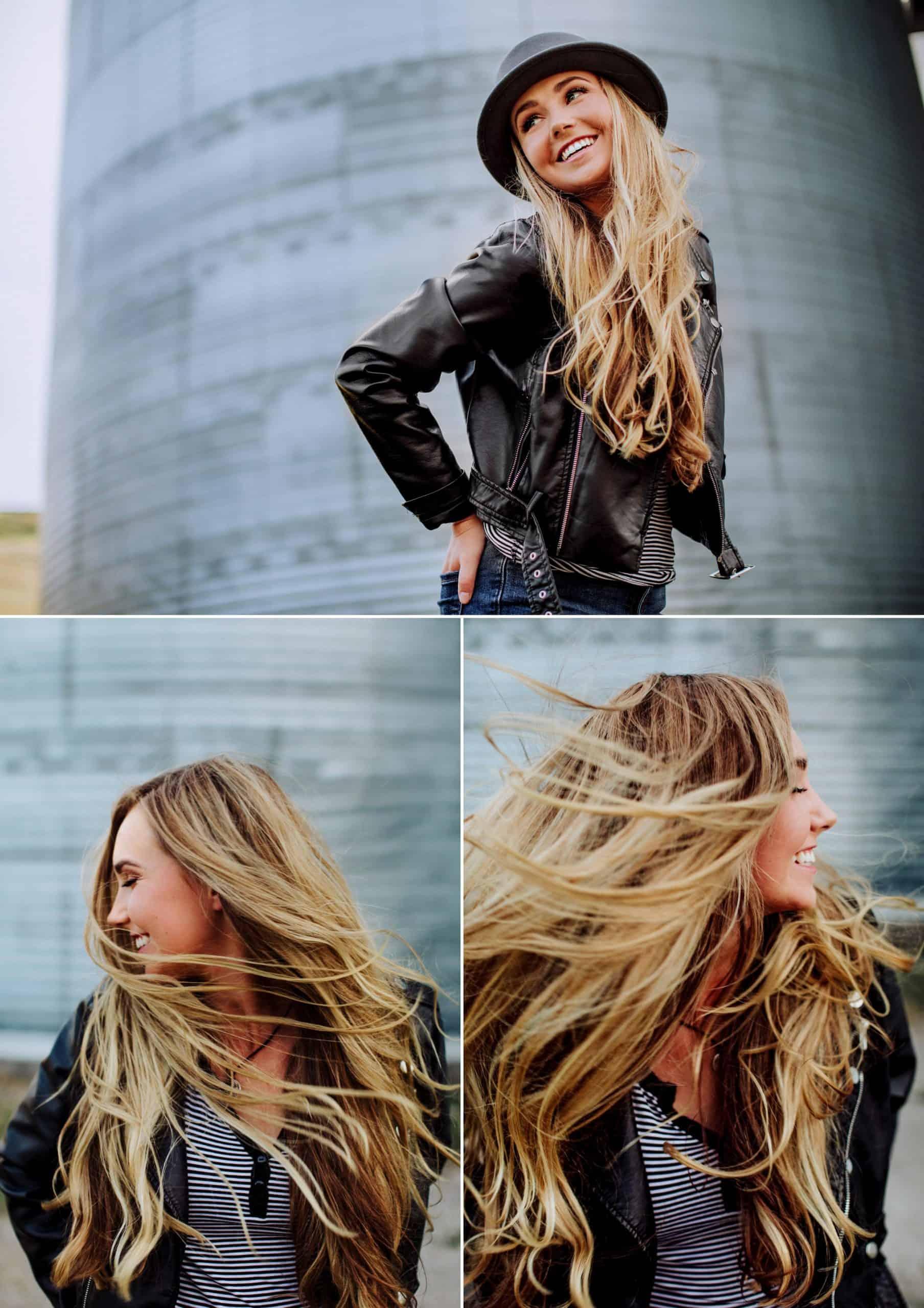 Kendyll, a senior from great falls Montana, flinging her hair