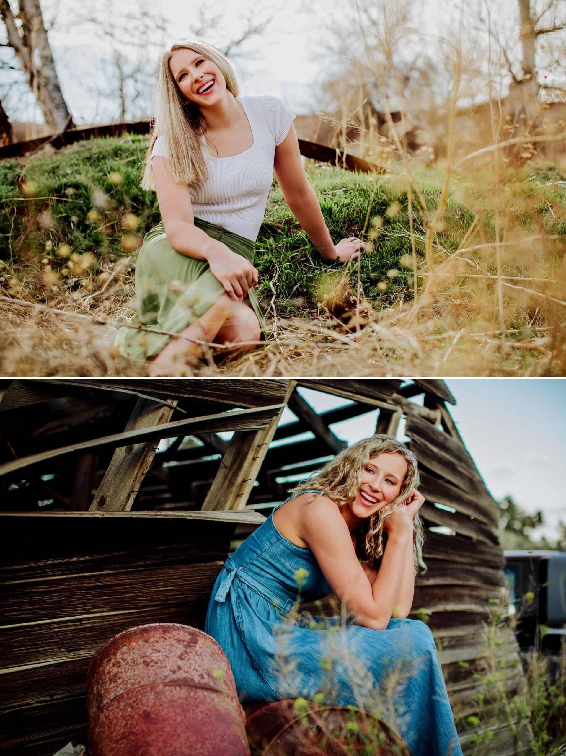 Senior Allie posing in a field in great falls Montana